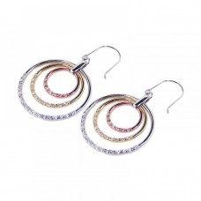 Sterling Silver Gold & Silver Rhodium Plated Multiple Opne Circle Clear CZ Dangling Hook Earring bge00051