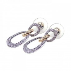 Sterling Silver Gold & Silver Rhodium Plated Open Round Clear CZ Dangling Stud Earring bge00052