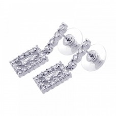 **Closeout** Wholesale Sterling Silver 925 Rhodium Plated Rectangle Clear CZ Dangling Stud Earrings - BGE00054