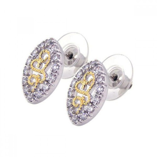 -Closeout- Wholesale Sterling Silver 925 Rhodium Plated Clear and Silver Marquis CZ Stud Earrings - BGE00058