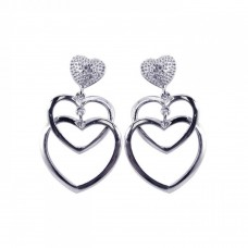 **Closeout** Wholesale Sterling Silver 925 Rhodium Plated Clear Open Heart CZ Dangling Stud Earrings - BGE00060
