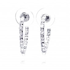 ***CLOSEOUT*** Wholesale Sterling Silver 925 Rhodium Plated Clear CZ Hoop Earrings - BGE00071