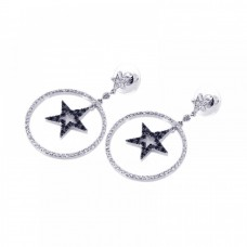 **Closeout** Wholesale Sterling Silver 925 Black and Silver Rhodium Plated Open Circle Star CZ Dangling Earrings - BGE00072