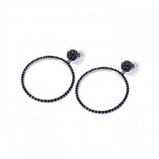 **Closeout** Wholesale Sterling Silver 925 Black Rhodium Plated CZ Dangling Earrings - BGE00076