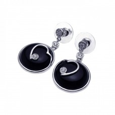**Closeout** Wholesale Sterling Silver 925 Rhodium Plated Heart Black Onyx CZ Dangling Earrings - BGE00092