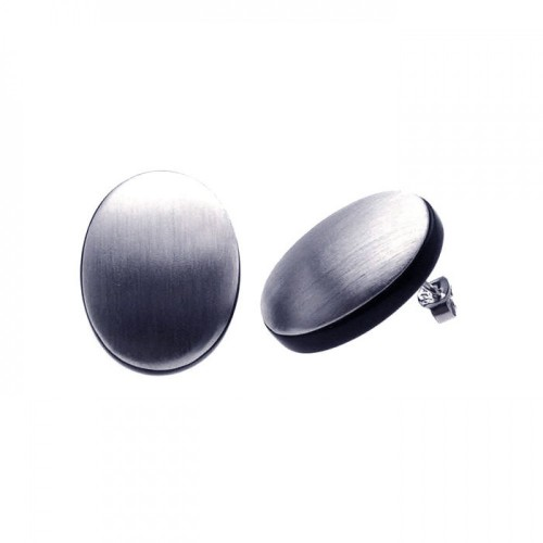 -Closeout- Wholesale Sterling Silver 925 Rhodium Plated Oval Matte Onyx CZ Stud Earrings - BGE00093