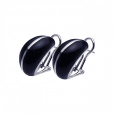 **Closeout** Wholesale Sterling Silver 925 Rhodium Plated Black Enamel Lever Back Earrings - BGE00099
