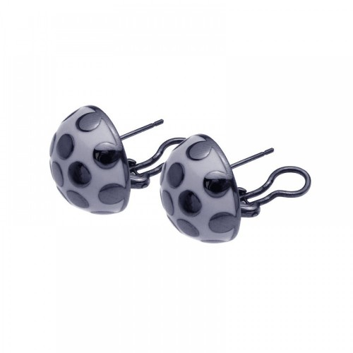 -Closeout- Wholesale Sterling Silver Rhodium Plated White Enamel Lady Bug Lever Back Earrings - BGE00100