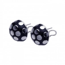 **Closeout** Wholesale Sterling Silver 925 Rhodium Plated Black Enamel Lady Bug Lever Back Earrings - BGE00101