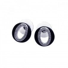 **Closeout** Sterling Silver Rhodium Plated Letter O CZ Onyx Stud Earring bge00102