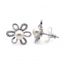 Wholesale Sterling Silver 925 Rhodium Plated Sunflower CZ Synthetic Pearl Stud Earrings - BGE00111