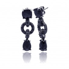**Closeout** Wholesale Sterling Silver 925 Black Rhodium Plated Round Teardrop CZ Dangling Stud Earrings - BGE00114