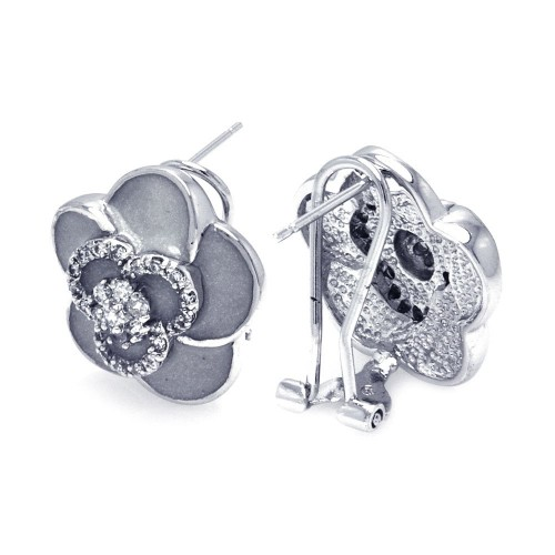 -Closeout- Wholesale Sterling Silver 925 Rhodium Plated Flower CZ Stud Earrings - BGE00121