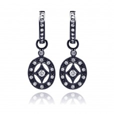 ***CLOSEOUT***Sterling Silver Rhodium Plated Open Oval CZ Dangling Huggie Earrings - BGE00123