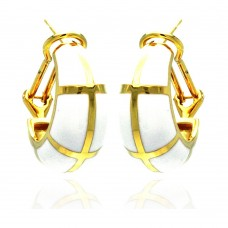 **Closeout** Wholesale Sterling Silver 925 Gold Rhodium Plated White Enamel Lever Back Earrings - BGE00129