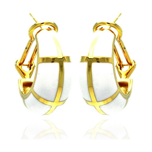 -Closeout- Wholesale Sterling Silver 925 Gold Rhodium Plated White Enamel Lever Back Earrings - BGE00129