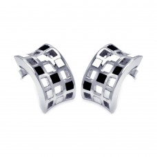 **Closeout** Wholesale Sterling Silver 925 Rhodium Plated Half Circle Black and Clear CZ Stud Earrings - BGE00130