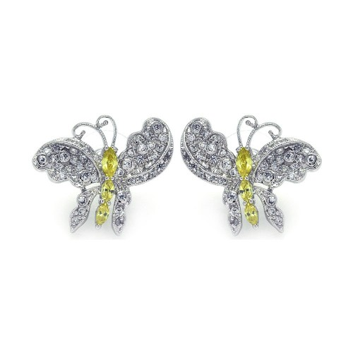 -CLOSEOUT- Wholesale Sterling Silver 925 Rhodium Plated Yellow CZ Butterfly Stud Earrings - BGE00132