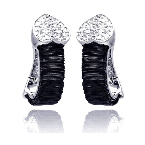 -Closeout-Wholesale Sterling Silver 925 Rhodium Plated Heart CZ Inlay Black Onyx Lever Back Earrings - BGE00133