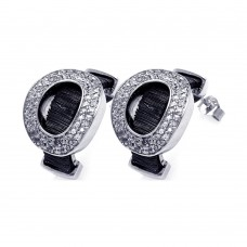 **Closeout** Wholesale Sterling Silver 925 Black and Silver Rhodium Plated Oval Letter O CZ Stud Earrings - BGE00134