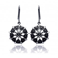 **Closeout** Wholesale Sterling Silver 925 Black Rhodium Plated Round Marquis Clear CZ Dangling Hook Earrings - BGE00193