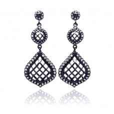 **Closeout** Wholesale Sterling Silver 925 Black Rhodium Plated Round Pear Teardrop CZ Dangling Stud Earrings - BGE00202