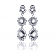 **Closeout** Sterling Silver Rhodium Plated Graduated Sunflower CZ Dangling Stud Earring bge00207