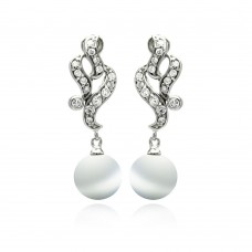 Sterling Silver Rhodium Plated Filigree CZ Dangling Synthetic Pearl Earring - BGE00224