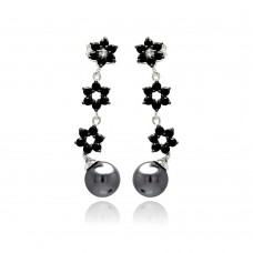 Sterling Silver Rhodium Plated Flower Round CZ Black Synthetic Pearl Dangling Stud Earring - BGE00238