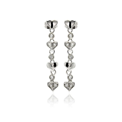 Wholesale Sterling Silver 925 Rhodium Plated Multiple Heart Round CZ Dangling Stud Earrings - BGE00247