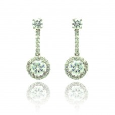 Sterling Silver Rhodium Plated Circle Pave CZ Dangling Stud Earring bge00294