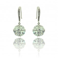 Sterling Silver Rhodium Plated Crystal Cricle CZ Dangling Hook Earring bge00323
