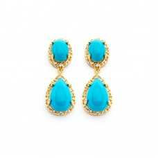 Sterling Silver Gold Rhodium Plated Round CZ Turquoise Teardrop Round Dangling Earring bge00351