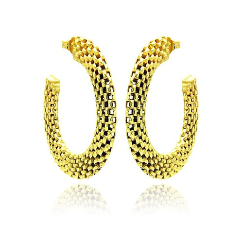 -Closeout- Wholesale Sterling Silver 925 Two Toned Gold and Black Rhodium Plated Crescent Box Link Italian Stud Earrings - ITE00019GP