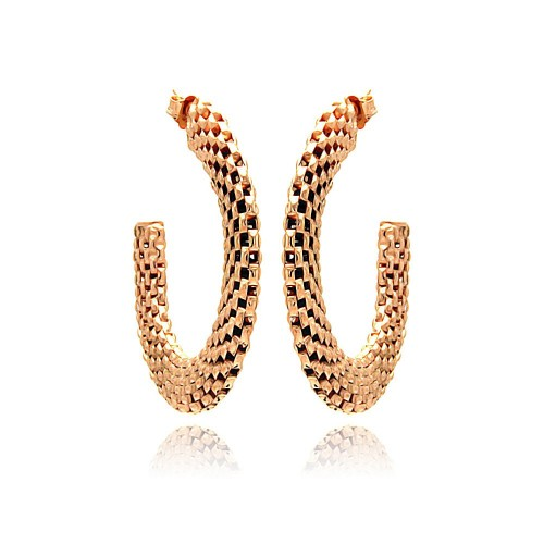 -Closeout- Wholesale Sterling Silver 925 Two Toned Rose Gold and Black Rhodium Plated Crescent Box Link Italian Stud Earrings - ITE00019RGP