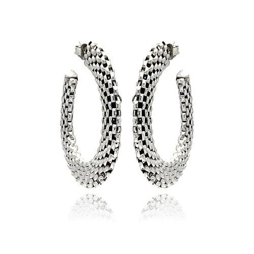-Closeout- Wholesale Sterling Silver 925 Two Toned Black and Rhodium Plated Crescent Box Link Italian Stud Earrings - ITE00019RH