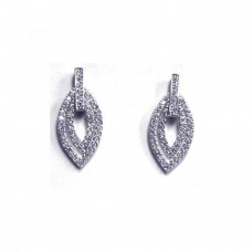 **Closeout** Sterling Silver Rhodium Plated Marquise CZ White Drop Earring ste00034