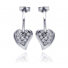 **Closeout** Wholesale Sterling Silver 925 Rhodium Plated CZ Heart Shaped Dangling Earrings - STE00035
