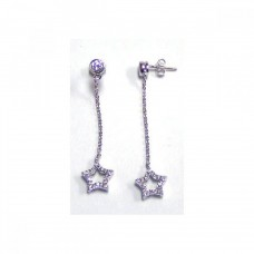 **Closeout** Wholesale Sterling Silver 925 Rhodium Plated CZ Wire Dangling Star Earrings - STE00057