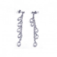 **Closeout** Wholesale Sterling Silver 925 Rhodium Plated Oval CZ Wire Dangling Earrings - STE00063