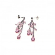 **Closeout** Wholesale Sterling Silver 925 Rhodium Plated Pink Oval CZ Wire Dangling Earrings - STE00066