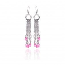 **Closeout** Wholesale Sterling Silver 925 Rhodium Plated Pink Tear Drop CZ Multi Wire Dangling Hook Earrings - STE00072
