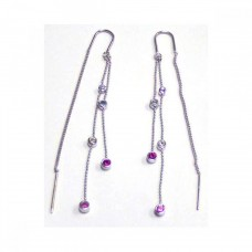 **Closeout** Sterling Silver Rhodium Plated Pink & Violet CZ Two Strand Dangling Hook Earring ste00081