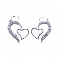 **Closeout** Wholesale Sterling Silver 925 Rhodium Plated Half Heart CZ Heart Hook Earrings - STE00082