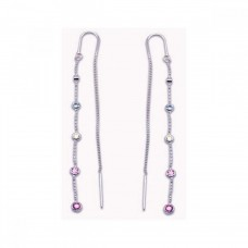 **Closeout** Sterling Silver Rhodium Plated Mulitcolor CZ Single Strand Dangling Hook Earring ste00084