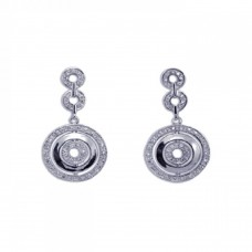 **Closeout** Wholesale Sterling Silver 925 Rhodium Plated Round CZ Dangling Earrings - STE00088