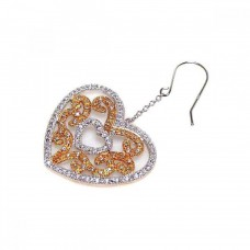 **Closeout** Wholesale Sterling Silver 925 Rhodium Plated Clear Heart and Yellow Filigree CZ Wire Dangling Hook Earrings - STE00106
