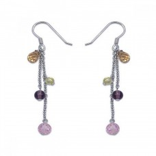 **Closeout** Wholesale Sterling Silver 925 Rhodium Plated Multicolor CZ Wire Dangling Hook Earrings - STE00119