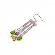 **Closeout** Wholesale Sterling Silver 925 Rhodium Plated Multicolor CZ Wire Dangling Hook Earrings - STE00142