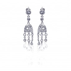 **Closeout** Wholesale Sterling Silver 925 Rhodium Plated Chandelier CZ Dangling Earrings - STE00145